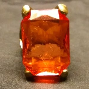 Elegant Orange Solitaire Large Stone